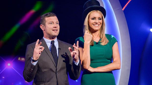 Dermot O'Leary and Tess Daly during Children In Need 2015 (BBC/PA)