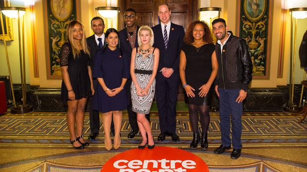 The Duke of Cambridge (third right) with Centrepoint Award winners (from left to right) Monique Newton, Othman Ali, Sophia Kichou, Alex Bonnick, Rebecca Stephenson, Sade Brown and Ezat Gulzaman at the launch of the Centrepoint Awards at the HSBC private bank in London.