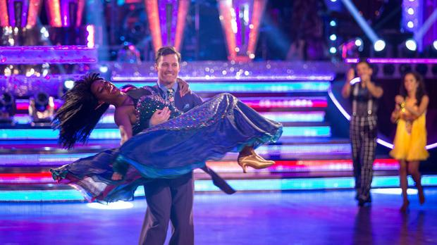 Jamelia and Tristan MacManus performing their final dance during the Strictly Come Dancing results show in Blackpool.