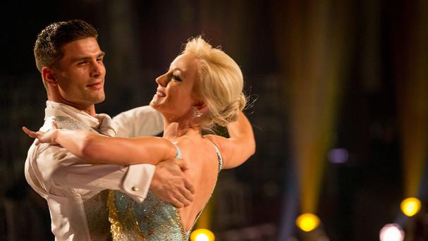 Helen George and Aljaz Skorjanec during a dress rehearsal for Strictly Come Dancing (BBC/PA)