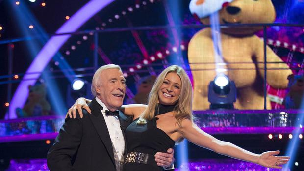 Sir Bruce Forsyth, pictured with Tess Daly, returned for Strictly's Children In Need show (BBC/PA)