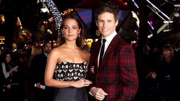 Eddie Redmayne and Alicia Vikander attending the London premiere of The Danish Girl
