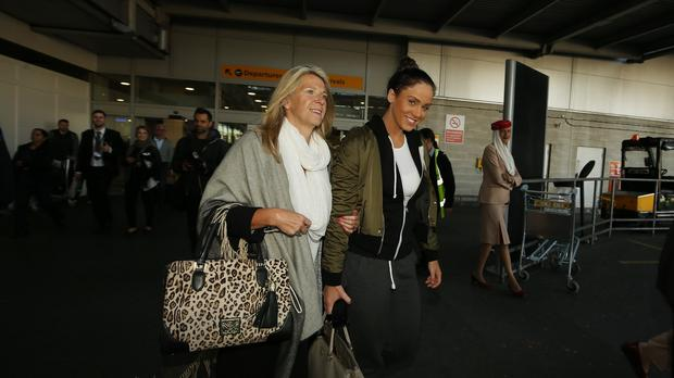 I'm A Celebrity Get Me Out Of Here 2015 winner Vicky Pattison walks through Heathrow Airport, with her mother Caroll, after arriving back from Australia.