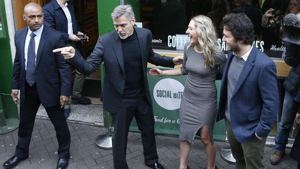 George Clooney visited an Edinburgh branch of Social Bite last month
