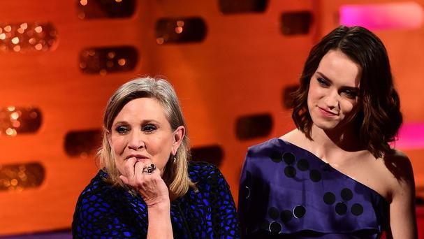 Carrie Fisher and Daisy Ridley during the filming of the Graham Norton Show