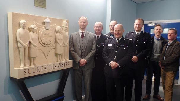 Mark Gatiss alongside officers after unveiling a lasting memorial to police officers who have died in the line of duty (Durham Police/PA)