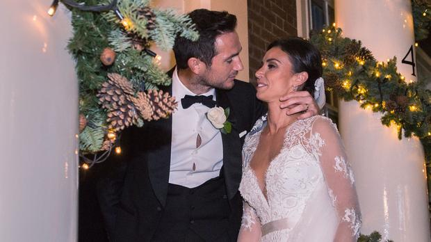 Frank Lampard and Christine Bleakley arriving for their wedding reception
