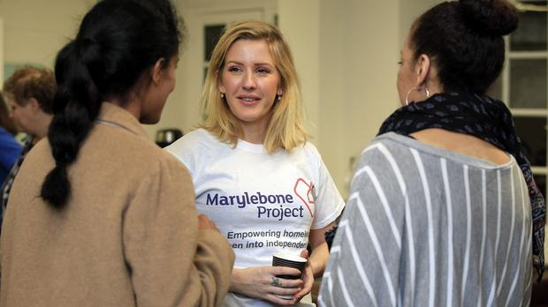 Ellie Goulding, patron of the Church Army's Marylebone Project, volunteering at their centre in London
