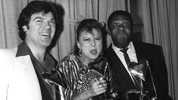 David Copperfield, left, with Tracey Ullman and Lenny Henry in London in 1983 after they were voted joint BBC TV Personalities