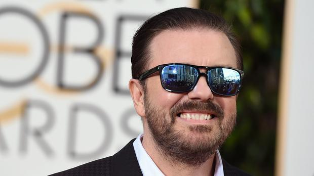 Ricky Gervais arriving at the Golden Globes, which he hosted (AP)