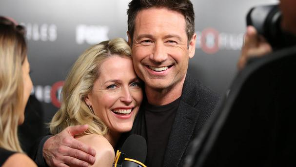 Gillian Anderson and David Duchovny at the season premiere of The X-Files at the California Science Centre in Los Angeles (Omar Vega/Invision/AP)