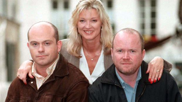 (left to right) Grant Mitchell, Kathy Sullivan and Phil Mitchell are to be reunited in EastEnders