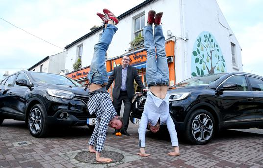 David and Stephen Flynn from the Happy Pear at the handover of their Kadjars by Renault boss Patrick McGee.