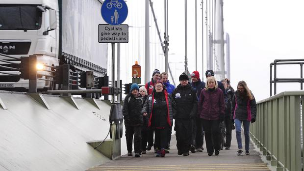 Comedian Jo Brand sets off across the Humber Bridge on the first day of her Hell Of A Walk challenge for Sport Relief