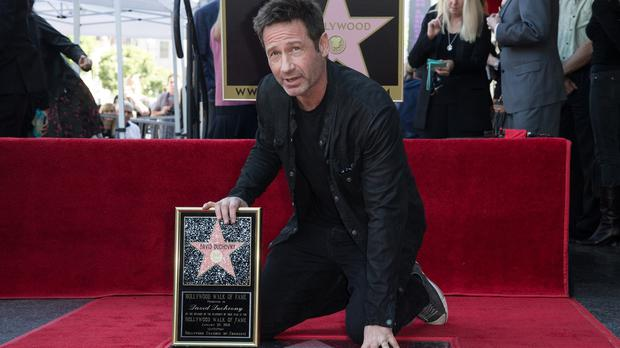 David Duchovny with his Hollywood Walk of Fame star (Invision/AP)