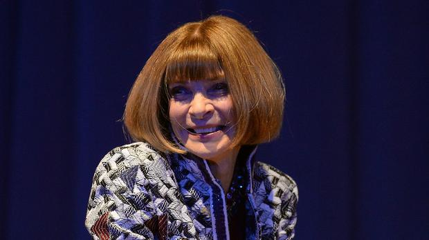 Editor-in-Chief of American Vogue Anna Wintour takes part in a question and answer session during the Northern Youth Fashion Show at the University of York.