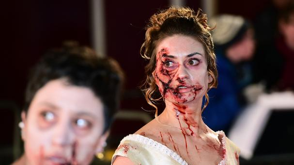 Gory extras were on the red carpet for the European premiere of Pride and Prejudice and Zombies
