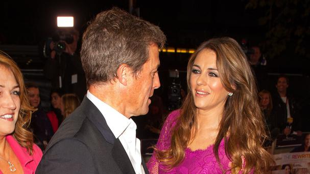 Hugh Grant with Liz Hurley at the premiere of The Rewrite in London