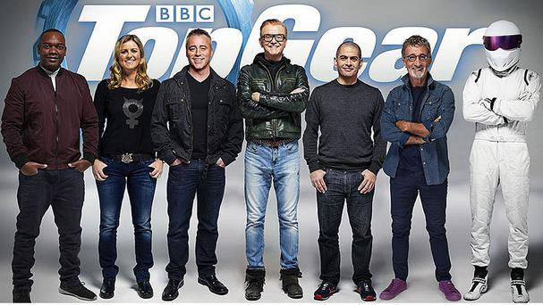 Rory Reid, Sabine Schmitz, Matt LeBlanc, Chris Evans, Chris Harris, Eddie Jordan and The Stig, who have been announced as the full line-up for BBC's Top Gear programme