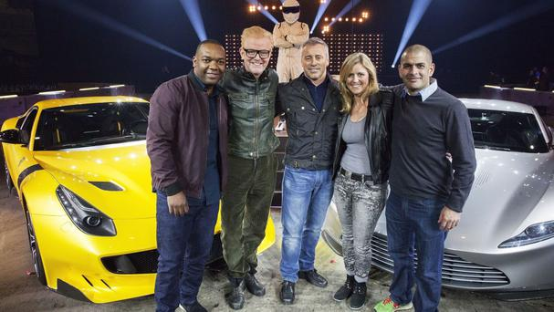 Top Gear presenters (left to right) Rory Reid , Chris Evans, Matt LeBlanc, Sabine Schmitz, Chris Harris get together for the show's launch