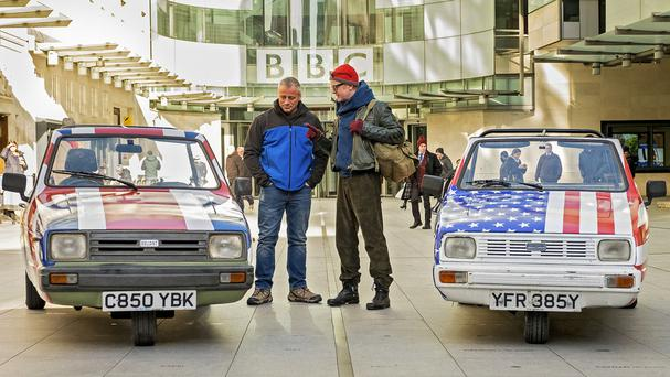 Matt LeBlanc (left) and Chris Evans before taking part in the first challenge for Top Gear