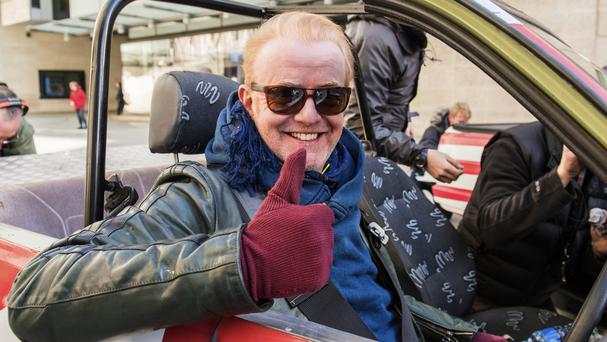 Chris Evans takes part in the first challenge for Top Gear - a UK v USA race from London to Blackpool in Reliant Rialtos