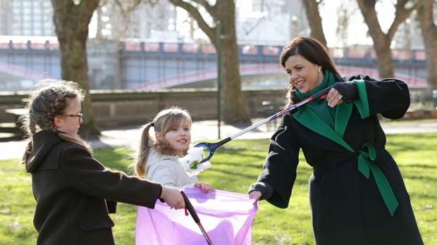 Kirstie Allsopp and pupils from Channing School promote the Clean For The Queen weekend
