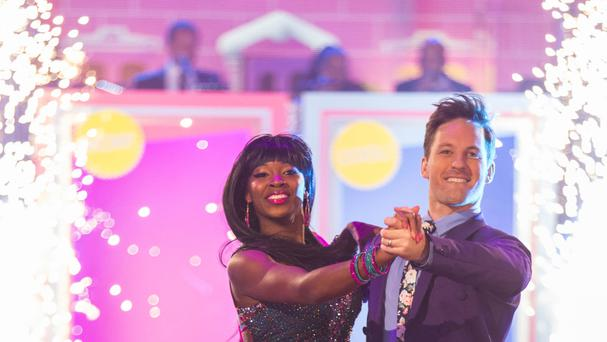 Jamelia and Tristan MacManus appearing on the Strictly Come Dancing live show in Blackpool