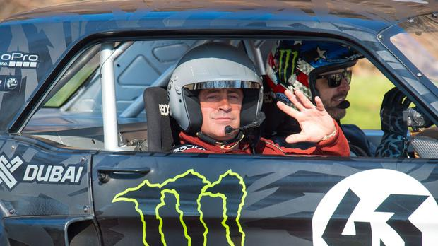 Matt LeBlanc and rally driver Ken Block during filming of BBC Top Gear in Westminster, London