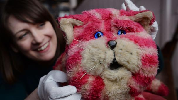 Bagpuss, the original puppet used in the filming of the TV show, has gone on display in the exhibition