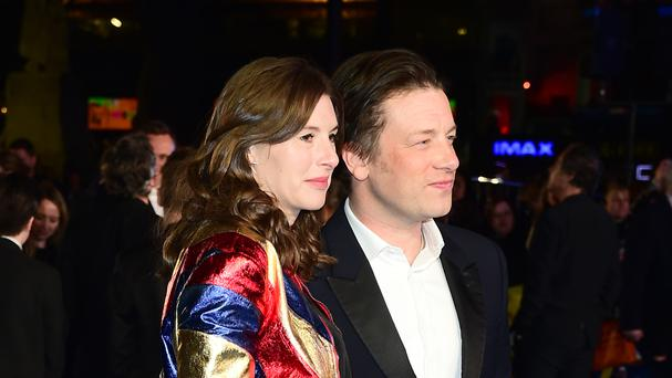 Jools and Jamie Oliver at the European premiere of Eddie The Eagle in Leicester Square, London