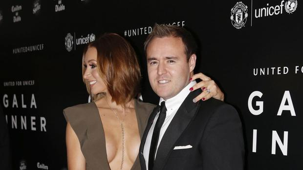 Coronation Street actor Alan Halsall with his wife Lucy-Jo Hudson arriving at a gala dinner at Old Trafford, Manchester