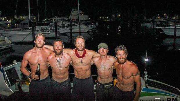 Team Essence members (left to right) Oliver Bailey, Jason Fox, Mathew Bennett, Ross Johnson and Aldo Kane celebrate after they arrived in Trinidad (Brendan Delzin/PA)