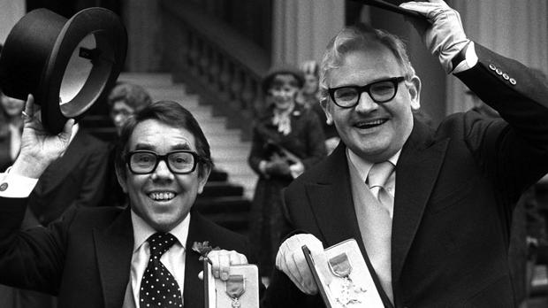 With Ronnie Barker, at Buckingham Palace, after receiving the OBE