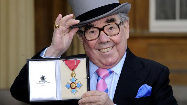 Ronnie Corbett receiving his CBE in 2012 - many people felt he deserved a knighthood