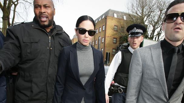 Tulisa Contostavlos arriving at Highbury Corner Magistrates' Court in London