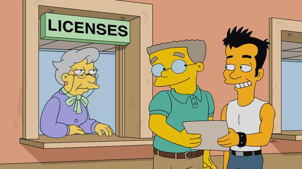 Waylon Smithers Jr, centre, come out as gay after 27 years in the closet on the Simpsons (Sky 1 HD/Fox/PA)