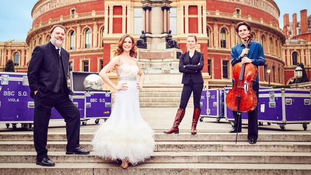 Bryn Terfel, Katie Derham, Mirga Grazinyte-Tyla and Leonard Elschenbroich outside the Royal Albert Hall ahead of the BBC Proms (BBC/PA)