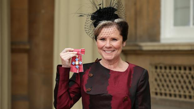 Actress Imelda Staunton after receiving a CBE from the Duke of Cambridge at Buckingham Palace