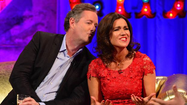 Piers Morgan and Susanna Reid went out together on April 8 to the Groucho club in London (Channel 4/PA Wire)