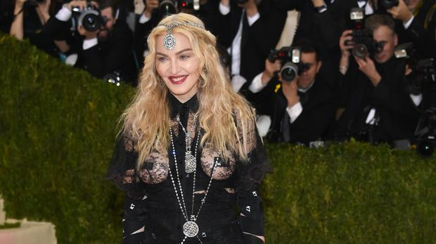 Madonna arrives at the Met Gala fashion event in New York (AP)