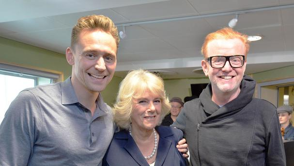 The Duchess of Cornwall with Tom Hiddleston, left, and Chris Evans at BBC Radio 2's headquarters in London