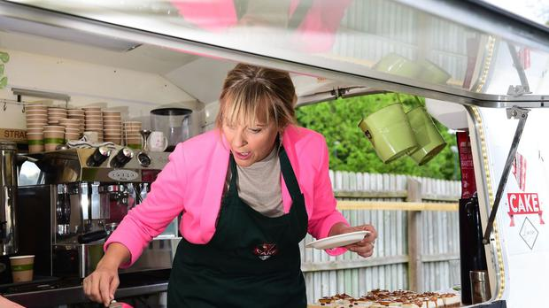 Mel Giedroyc hosts 'Mel's Tea Party' for Marie Curie, at The Park Club in Acton, London.