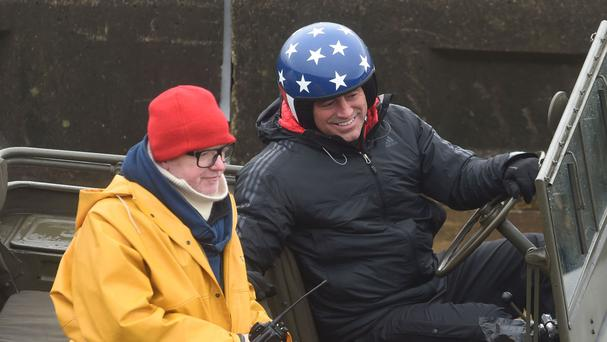 Chris Evans (left) and Matt LeBlanc filming the new series of Top Gear on the promenade in Blackpool. LeBlanc has denied suggestions he and Evans don't get on