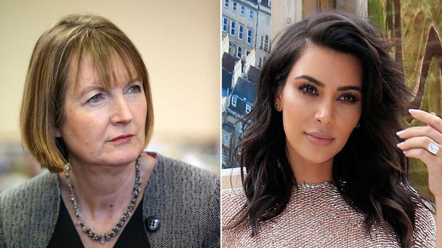 Harriet Harman, left, called Kim Kardashian