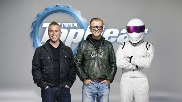 Friends actor Matt LeBlanc with Chris Evans and The Stig (BBC/PA)