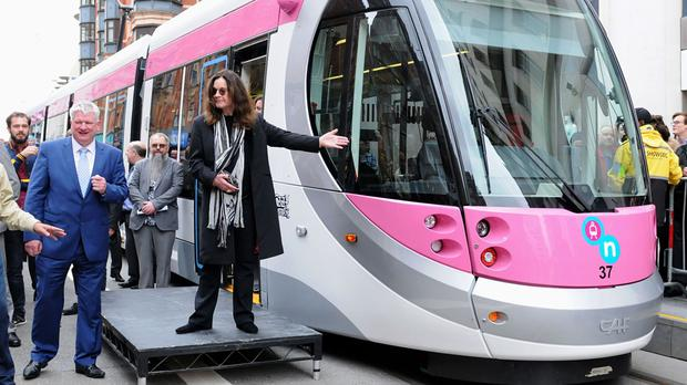 Ozzy Osbourne launches a Midland Metro tram bearing his name, on a newly-opened route in Birmingham city centre