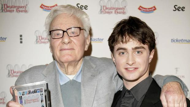 Sir Peter Shaffer pictured in 2008 with Daniel Radcliffe, who has paid tribute to the celebrated writer of Equus and Amadeus