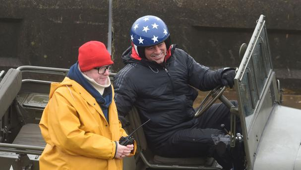 Top Gear presenters Chris Evans, left, and Matt LeBlanc filming for the new series in Blackpool