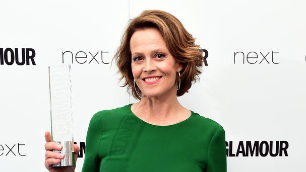 Sigourney Weaver with her Glamour award in the press room at Berkeley Square Gardens in London
